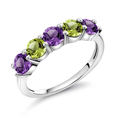 Gem Stone King 0.89 Ct Round Purple Amethyst Green Peridot 925 Sterling Silver Ring (Size 6)