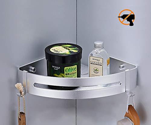 Kazeila Duschregal Eckregal - Bad Duschwanne mit 2 Haken - Duschkorb - Ohne Bohren - Raum Aluminium, Poliert, Aktualisierte Version (Dreieck)