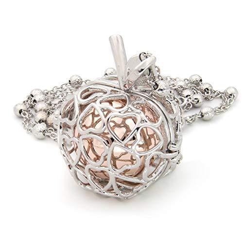 Collar de mujer con colgante de manzana, chapado en oro blanco, con llamador de ángeles, de acero y aleación de bronce
