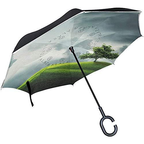 mengmeng Paraguas Recto de Doble Capa invertido/invertido, Bolsa de Transporte y pie Verde de Pradera para Manos Libres