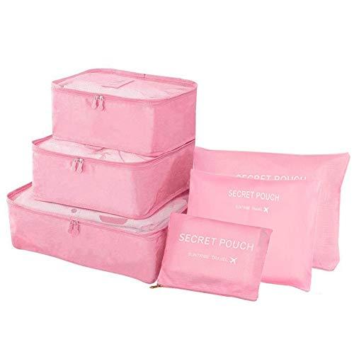 EQLEF 6pcs bagagli di corsa dell'organizzatore dei sacchetti Cosmetic set Storage Sacco sacchetto di vestiti di immagazzinaggio