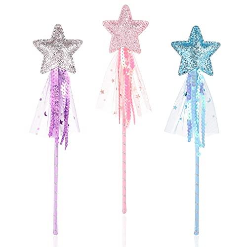 Chutoral 3 Stück Stern Zauberstab Prinzessin Zauberstab Fee Glitzer Stern Zauberstab Feenstab für Mädchen Weihnachten Halloween Geburtstagsfeier Dekoration