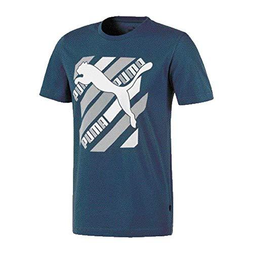 PUMA Mens Cat Brand Graphic Tee T Shirt Dark Denim M