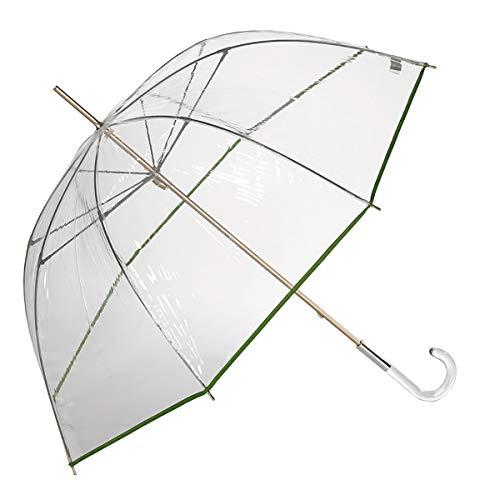EZPELETA Paraguas Transparente Largo de Mujer con Forma de cúpula. Paraguas Mujer Transparente antiviento y Manual. Color - Verde