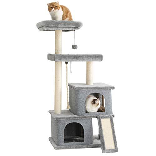 Le sure Kratzbaum groß Katzen stabil - Katzenbaum XXL grau für schwere große Katzen, Aktivitätskratzbäume aus Holz cat Tree Katzenkratzbaum mit Sisalseil