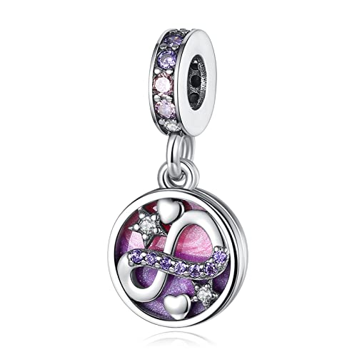 """LaMenars """"Love Mom Family Tree Infinity Heart"""" ciondoli per braccialetti, perline multicolori in argento sterling 925, adatti a collane con bracciale, regali di compleanno per donne (L-Infinito Amore)"""