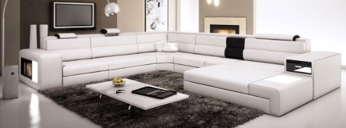 Modern Italian Design Ivory Sectional Sofa Polaris