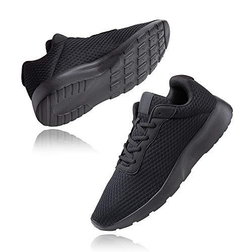 Zapatillas de Running Hombre Mujer Deportivas Casual Gimnasio Zapatos Ligero Transpirable Sneakers Negro 42 EU