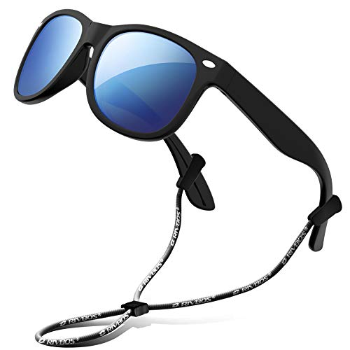 RIVBOS Rubber Kids Polarized Sunglasses With Strap Shades for Boys RBK004 Black Ice Blue Lens