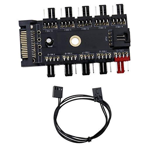4Pin Lüfter Hub Drehzahlregler Unterstützung 10 Wege Sata Netzteil PWM Anschluss Kanal Hub 4Pin Chassis Lüfter für PC