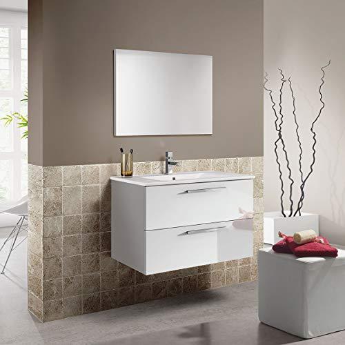 MarinelliGroup Mobile Bagno 80 cm sospeso con lavabo in Ceramica e Specchio con cassetti Bianco. Melissa