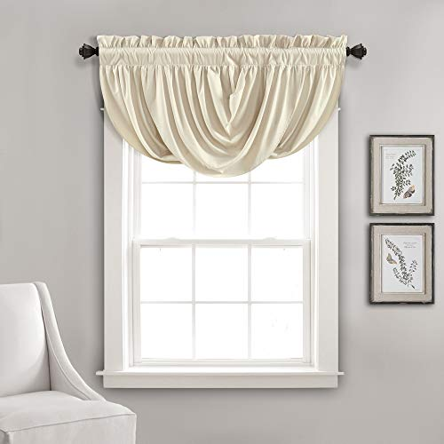 """Lush Decor Neutral Lucia, Elegant Waterfall Valance for Living Room Kitchen, and Bedroom, Soft Polyester Window Curtain, Single (18"""" x 42"""")"""