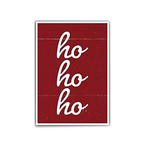 Hohoho Weihnachts-poster - Weihnachten Poster – Rot- din a 4 | 30x40 cm – Typografie | Quotes - ohne Bilderrahmen