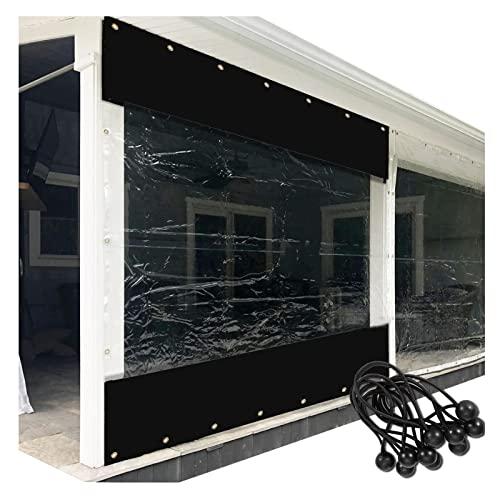 XFLOFE Exterior Cortina, Cenadores Invierno Lona Pérgola Paneles Laterales PVC Transparente Resistente Al Clima con Ojal Y Bolas De Bungee (Color : Black, Size : 2x3.3m/6.5x10.8ft)