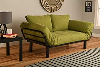 Kodiak Best Futon Lounger Sit Lounge Sleep Smaller Size Furniture is Perfect for College Dorm Bedroom Studio Apartment Guest Room Covered Patio Porch (Lime Green Linen)