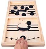 HELLO PAPAYA Fast Sling Puck Game,Wooden Hockey Game Sling Puck.Desktop Battle Wooden Hockey Table Game,Adults and KidsFunny Slingshot Game Toy.Foosball Winner Board Game-Middle Size