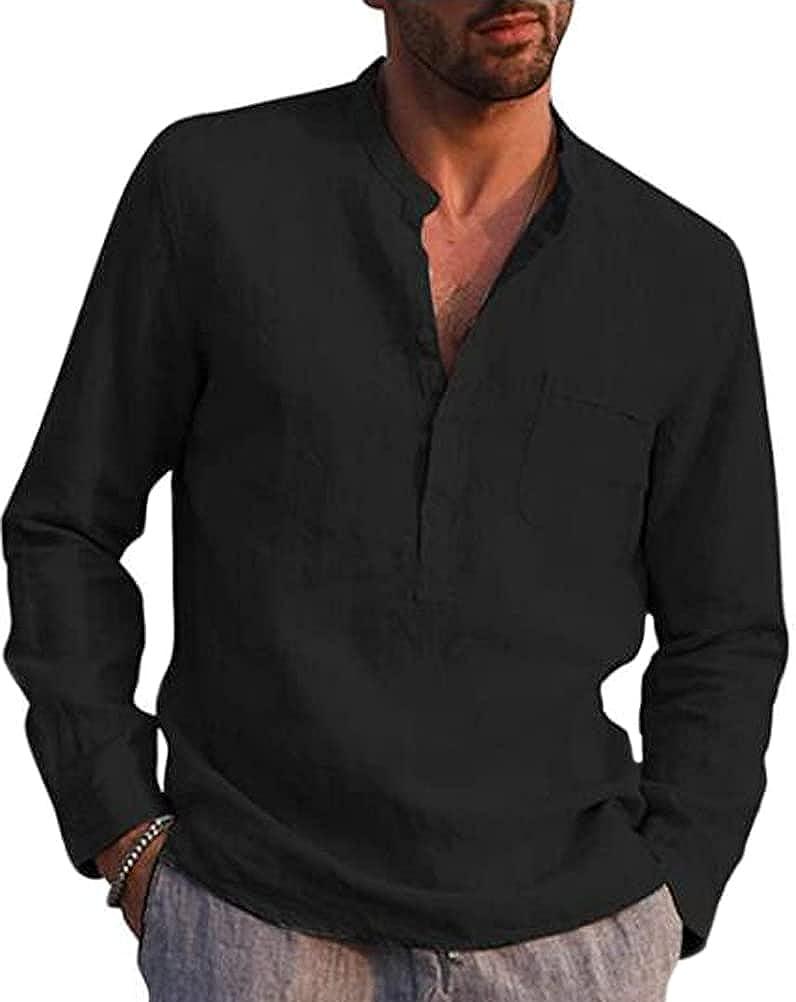 Men's Linen Henley Shirt Long Sleeve Beach Casual Fashion T Shirt Mens Top