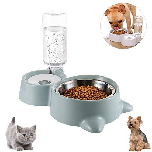 Cuenco Doble para Mascotas,Comedero para Perro Gato Comedero Automático Mascotas y Dispensador de Agua,Cuenco para Comer con Botella de Agua dispensador de Agua,para Mascotas, Perros, Gatos (B)