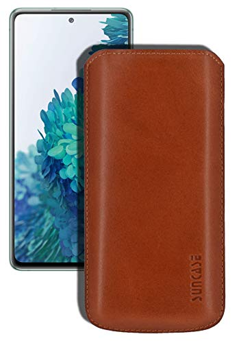 Suncase Original Leather Case Compatible with Samsung Galaxy S20 FE (5G) Case Ultra Slim Leather Protective Case with Pull Tab Cognac