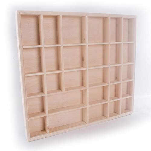 Wooden Wall Display Cabinet Trinket Display Shelf | 28 Compartments | 45 x 40 x 3.5 cm | Wall Hanging Unit Souvenir Organiser | Unpainted & Untreated Decorative Wood