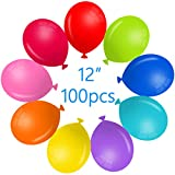 Party Balloons 12 Inches Rainbow Set (100 Pack), Assorted Colored Party Balloons Bulk, Made With Strong Latex, For Helium Or Air Use. Fiesta Birthday Balloon Arch Supplies, Decoration Accessory 060B