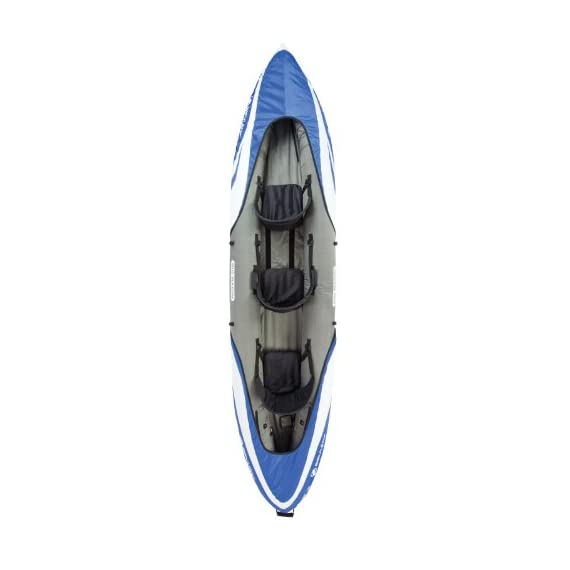 Sevylor Big Basin 3-Person Kayak , Blue 3 Heavy-duty PVC construction is rugged for lake use Tarpaulin bottom provides durable protection from punctures Multiple air chambers allow another chamber to stay inflated if one is punctured