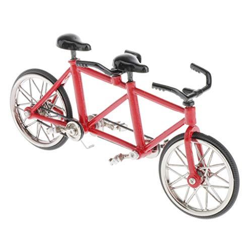 CUTICATE 1:16 Fahrradmodell Miniatur Legierung Tandem Fahrrad Modell, Tolles Geschenkidee für Fahrradfahrer - Rot + Schwarz