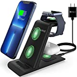 HATALKIN 3 in 1 Wireless Charging Station Compatible for Apple Products Multiple Devices Apple Watch SE 6 5 4 3 2 AirPods Pro/2 iPhone 13 12 11 / Pro Max/X/XS/XR/8 Plus QI Fast Wireless Charger Stand