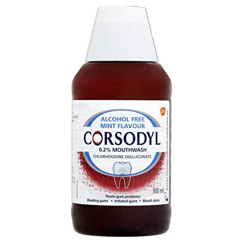 Corsodyl 0.2% Mouthwash, Gum Disease & Bleeding Gum Treatment Mouthwash, Alcohol Free, Mint Flavour, 300 ml