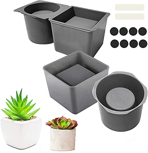2 Pack Silicone Planter Mold, Concrete Planter Molds for Plant Flower Pots, Square and Round Shape Silicone Concrete Mold, Cube and Cylinder Resin Succulent Planter Pot Mold for DIY Crafts Making