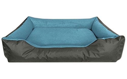 BedDog® Hundebett LUPI, Hundesofa aus Cordura, Microfaser-Velours, waschbares Hundebett mit Rand, Hundekissen Vier-eckig, für drinnen, draußen, XXL, Blue-Rock, grau-blau