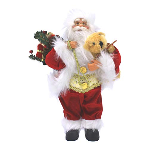 The Christmas Workshop Santa Claus Figure ~ 30cm ~ Indoor ~ Red, White and Green ~ Christmas Decoration ~ 81970