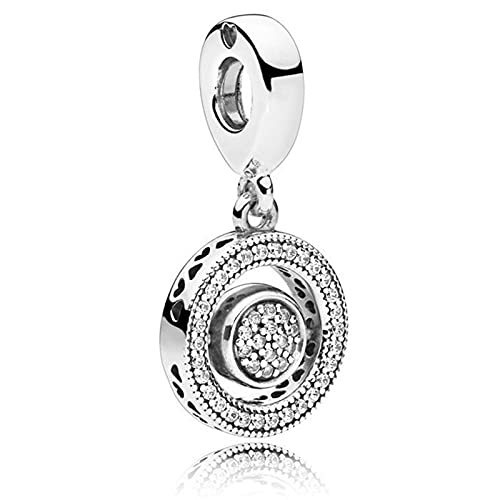 Pandora 925 Sterling Silveroriginal Pendant Wit Crystal Revolving Heart Fit Women Necklace diy Love Jewelry