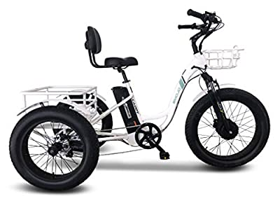 Emojo Caddy Pro Electrīc_Trīcycle 48V 500W Best Electrīc_Trīᴋe for Adults 24 Inch Fat Tire 3 Wheel E_Biᴋe Electrīc_Biᴋe Rear Basket Cargo for Heavy Carrying (Caddy Pro in White)