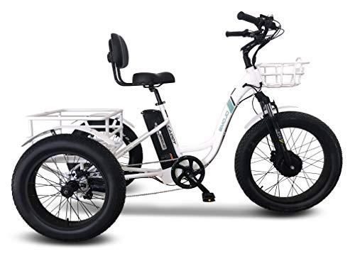 Emojo Caddy Pro/Caddy Élecṭrīc ṭrīcycle 48V 500W with 24 Inch Fat Tire Best Élecṭrīc ṭrīke with Rear Basket Cargo for Heavy Carrying (Caddy Pro in White)