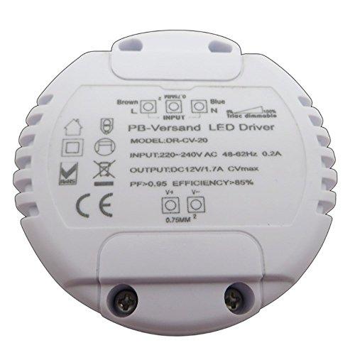 Dimmbarer LED Trafo 12V DC 1-20 Watt (rund) Netzteil dimmbar Treiber Transformator für Dimmer G4 MR16 GU5.3