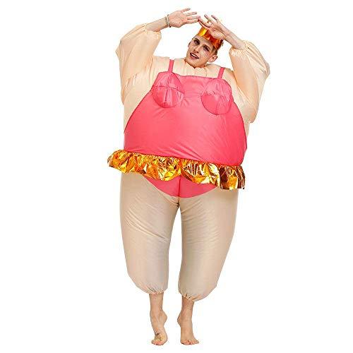 YLJYJ Partykostüm Aufblasbares Kostüm Aufblasbares Ballerina-Kostüm, süßes aufblasbares Ballerina-Kostüm für Erwachsene Fettanzug für Frauen/Männer Halloween Fancy Jumpsuit