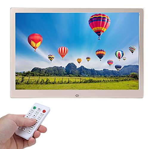 Jopwkuin Cornice per Foto Digitale Grande, 12'' Cornice Digitale con risoluzione 1280 * 800 e Luminosità 200 lm 16G Calendario Digitale con Dual Mode Control per L'Ufficio a casa(Oro)