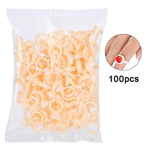 100pcs anneau de tatouage de sourcil jetable tasse d'encre Microblading Pigment palette titulaire colle permanent extensions de cils bagues(S)