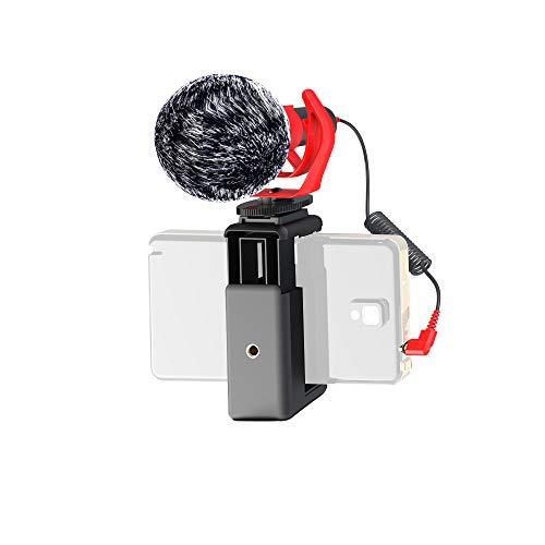 DigiPower universelles Mikrofon mit Fellwindschutz, Richtmikrofon mit Handhalterung, Schwinghalterung, TRS- und TRRS-Kabeladapter für Kameras & Handys, inkl. Tragetasche, DP-DM15F