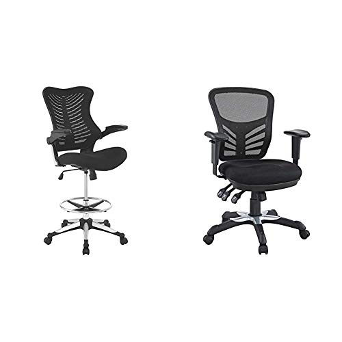Modway EEI-2286-BLK Charge Drafting Chair - Reception Desk Chair - Drafting Stool with Flip-Up Arms in Black & Articulate Ergonomic Mesh Office Chair in Black