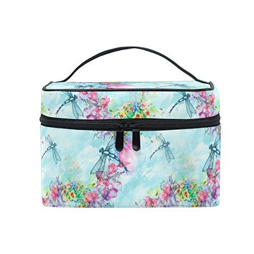 HaJie - Bolsa de maquillaje de gran capacidad, organizador de pintura artística, libélula, flor, bolsa de viaje, portátil, bolsa de almacenamiento de artículos de tocador para mujeres y niñas