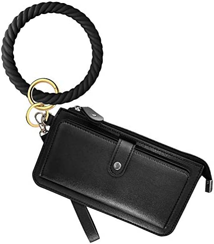 Idakekiy Key Chain Silicon Wristlet Keychain with Card Holder Bangle Keyring Bracelet Holder product image