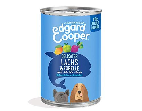 Edgard Cooper natürliches Premium Nassfutter für Adult Hunde in Dosen - 6 x 400g - Lachs & Forelle - getreidefrei