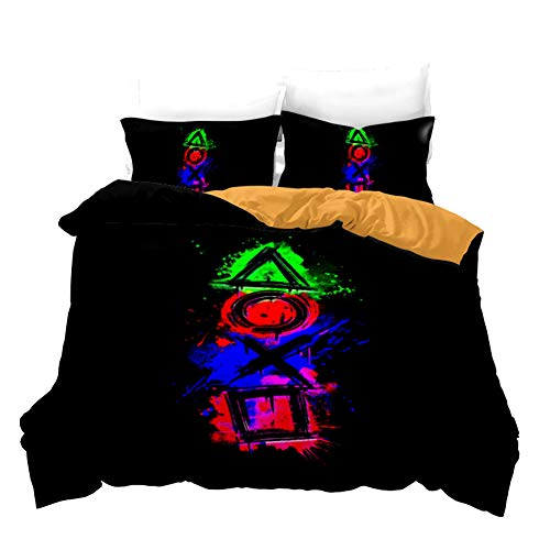 Anwind Games Printed Comforter Cover Set Multi-color Gamepad Duvet Cover Video Game Controller Bedding Set Room Decoration for Kids Teens Boys (Style 3, Double)