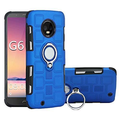 Yhuisen Armor - Funda de protección 2 en 1 con soporte giratorio para anillo de dedo, soporte magnético para coche, compatible con Motorola Moto G6 (2018) (color azul)