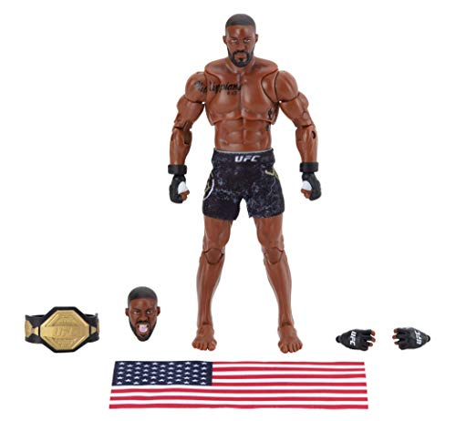 UFC Ultimate Series Limited Edition Jon Jones, 6 Inch Collector Action Figure - Includes Alternate Head and Gloved Hands, Fight Shorts, Belt and American Flag Accessory