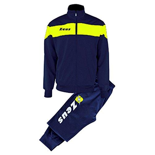 Zeus Tuta Apollo Herren Sportanzug Trainingsanzüge Running Laufen Training Sport Set Trikot Hosen Blau-Gelb Fluo (L)