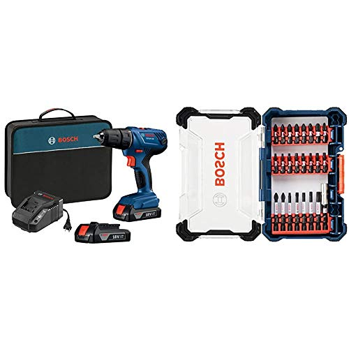 Bosch 18V Compact 1/2' Drill/Driver Kit with (2) 1.5 Ah Slim Pack Batteries GSR18V-190B22 with Bosch 24 Piece Impact Tough Screwdriving Custom Case System Set SDMS24