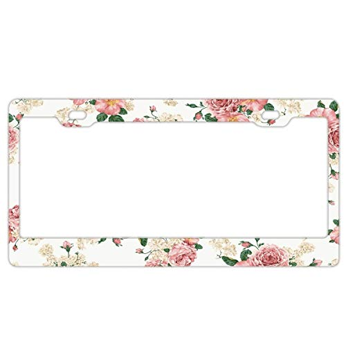 Vintage Floral White Aluminum Metal License Plate Frame Tag with Chrome Screw Caps - Car License Plate Covers for US Vehicles